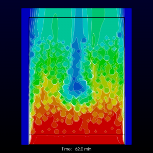 Evolution of temperature field in non-uniform packed bed